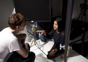 Manjinder Virk & Tom Hiddleston on the set of 'Out of Darkness'. Photo by Tom Sharp