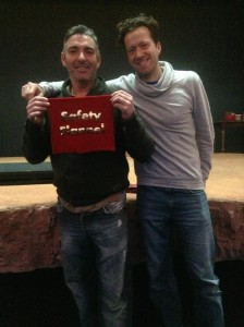 Mark Cameron (left) with Jez Bond and the safety flannel prop from their show
